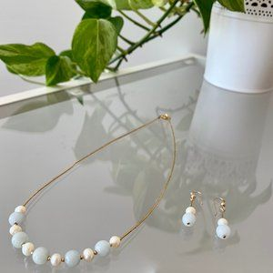 Pearl and Olmec Blue Jade Necklace and Earrings